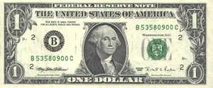 Купюра в 1 доллар США, лицевая сторона эквадор