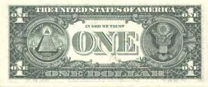 Купюра в 1 доллар США, обратная сторона