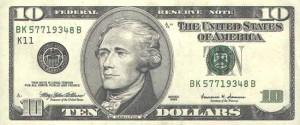 Купюра в 10 долларов США, лицевая сторона