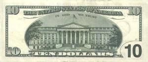 Купюра в 10 долларов США, обратная сторона