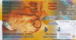 Купюра в 10 швейцарских франков. Лицевая сторона