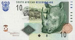 Купюра в 10 южноафриканских рандов. Лицевая сторона