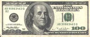 Купюра в 100 долларов США, лицевая сторона