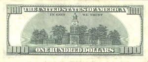 Купюра в 100 долларов США, обратная сторона