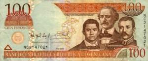 Купюра в 100 доминиканских песо. Лицевая сторона