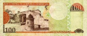 Купюра в 100 доминиканских песо. Обратная сторона