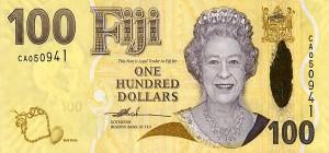 Купюра в 100 фиджийских долларов. Лицевая сторона