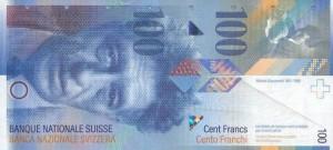 Купюра в 100 швейцарских франков. Лицевая сторона