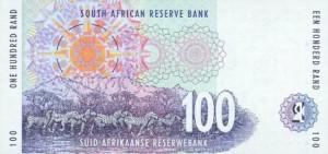Купюра в 100 южноафриканских рандов. Обратная сторона