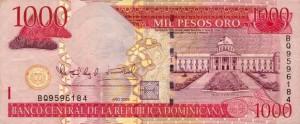 Купюра в 1000 доминиканских песо. Лицевая сторона