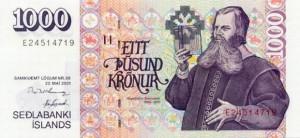 Купюра в 1000 исландских крон. Лицевая сторона