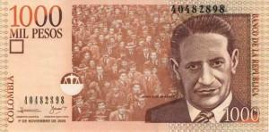 Купюра в 1000 колумбийских песо. Лицевая сторона