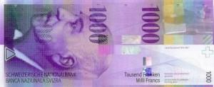 Купюра в 1000 швейцарских франков. Лицевая сторона