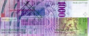 Купюра в 1000 швейцарских франков. Обратная сторона