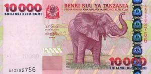 Купюра в 10000 танзанийских шиллингов. Лицевая сторона