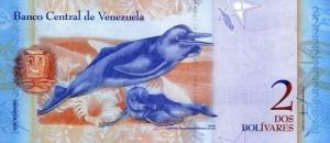 Купюра в 2 венесуэльских боливара. Обратная сторона.