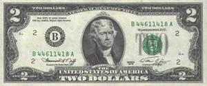 Купюра в 2 доллара США, лицевая сторона