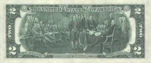 Купюра в 2 доллара США, обратная сторона