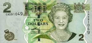 Купюра в 2 фиджийских доллара. Лицевая сторона
