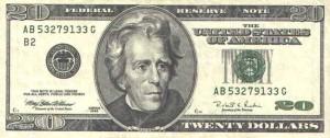 Купюра в 20 долларов США, лицевая сторона