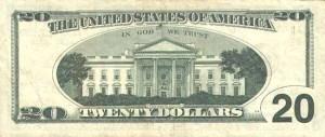 Купюра в 20 долларов США, обратная сторона