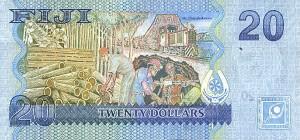 Купюра в 20 фиджийских долларов. Обратная сторона