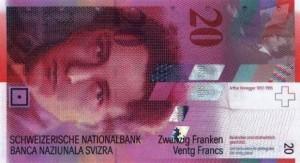 Купюра в 20 швейцарских франков. Лицевая сторона