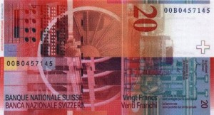 Купюра в 20 швейцарских франков. Обратная сторона
