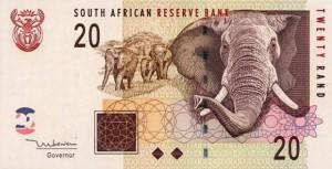 Купюра в 20 южноафриканских рандов. Лицевая сторона