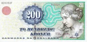 Купюра в 200 датских крон. Лицевая сторона