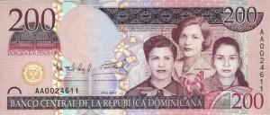 Купюра в 200 доминиканских песо. Лицевая сторона