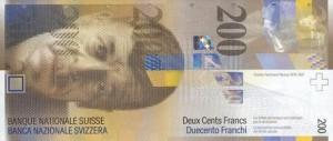 Купюра в 200 швейцарских франков. Лицевая сторона