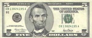 Купюра в 5 долларов США, лицевая сторона