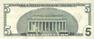 Купюра в 5 доллар США, обратная сторона