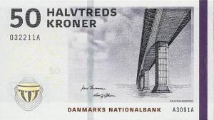 Купюра в 50 датских крон (2009 год). Лицевая сторона