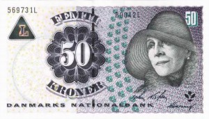 Купюра в 50 датских крон. Лицевая сторона