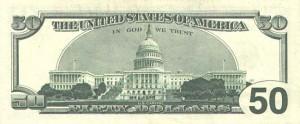 Купюра в 50 долларов США, обратная сторона