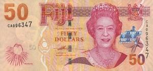 Купюра в 50 фиджийских долларов. Лицевая сторона