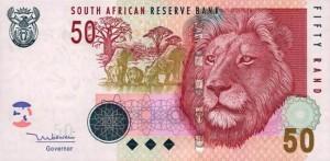 Купюра в 50 южноафриканских рандов. Лицевая сторона