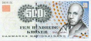 Купюра в 500 датских крон. Лицевая сторона