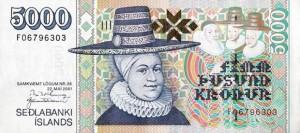 Купюра в 5000 исландских крон. Лицевая сторона