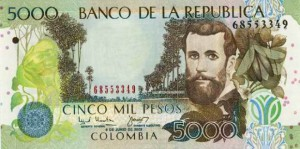 Купюра в 5000 колумбийских песо. Лицевая сторона