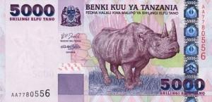 Купюра в 5000 танзанийских шиллингов. Лицевая сторона