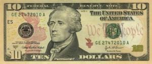 Купюра (новая) в 10 долларов США, лицевая сторона