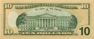 Купюра (новая) в 10 долларов США, обратная сторона