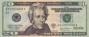 Купюра (новая) в 20 долларов США, лицевая сторона
