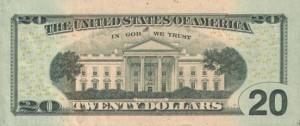 Купюра (новая) в 20 долларов США, обратная сторона