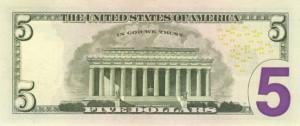 Купюра (новая) в 5 долларов США, обратная сторона
