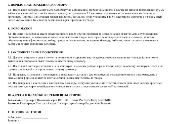Образец договора займа, обеспеченного поручительством, между акционером закрытого акционерного общества и обществом_002