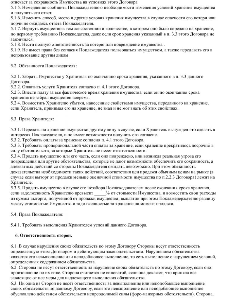 Образец договора хранения вещи _002